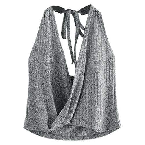 Camisetas TirantesSexy para Mujer Verano 2019 PAOLIAN Top TirantesCorto Fiesta Cuello V Sin Manga Blusas Espalda Elegante Playa Hombro Descubierto