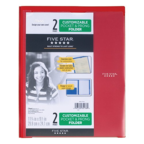 Five Star 2 Pocket Folder with Prong Fasteners, Folder with Pockets, Customizable Cover, Plastic, Color Selected for You, 1 Count (34136) Photo #8