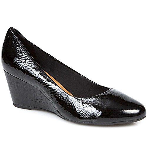 Bellissimo Mujer Zapatos De Cuña De Charol Negro Charol 42 EU