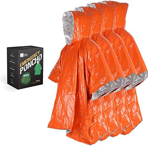 Bearhard Notfall-Decke, Poncho, 4 Stück, Ultraleicht, wasserdicht, Thermo-Survival-Decke mit Kapuze, für Camping, Wandern oder Notsituationen
