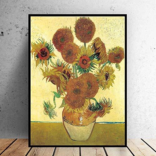 Sin Marco Arte Van Gogh Florero Girasoles Cuadro Impresionista Pintura al óleo sobre Lienzo Arte de la Pared para la Sala de Estar Decoración del hogar 50x60cm