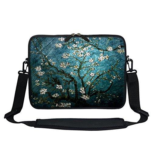 Meffort Inc 11,6 Zoll Neopren-Laptop-/Ultrabook-/Chromebook-Tasche mit verstecktem Griff und verstellbarem Schultergurt (Vincent Van Gogh Mandelblüte)