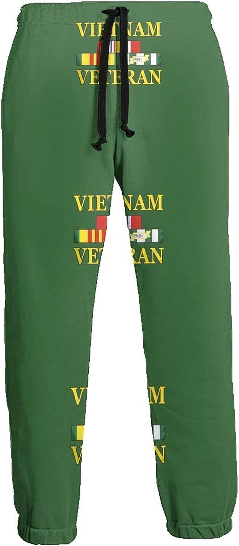 KAWAHATA Vietnam Veteran Men's Pants with Pockets Tapered Athletic Sweatpants 3D Casual Active Sports Pants