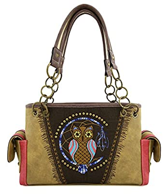 Angie&Allie Western Owl Handbag Purses Tote Bag Shoulder Bag Rhinestone and Studded with Back Side Concealed Saddle Pocket for Cowgirl(light camel)