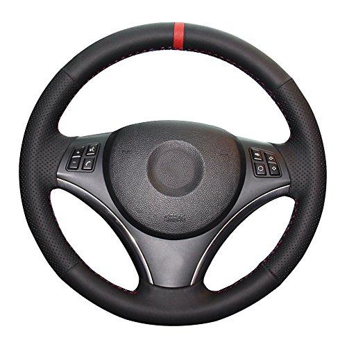 Eiseng DIY Sew Black Microfiber Leather Car Steering Wheel Cover for E90 325i 328i 330i 335i E87 120i 130i 120d Interior Accessories