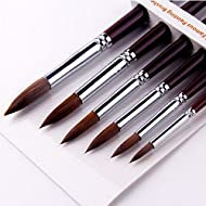 Artist Paint Brushes-Superior Sable Hair Artists Round Point Tip Paint Brush Set Watercolor Acrylic Painting Supplies