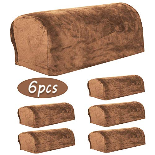 Fundas de terciopelo para reposabrazos, 6 piezas para sofá, sillón de cuero, sofá, brazo, funda elástica, grande, exterior, protector de muebles de jardín, gorras de brazo de sofá, bandeja,