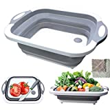 Collapsible Cutting Board, HI NINGER Multifunction Chopping Board with Colander, Space Saving 3 in 1 Multifunction Storage Basket, Chopping&Slicing Board for Camping, Picnic, BBQ, Kitchen.