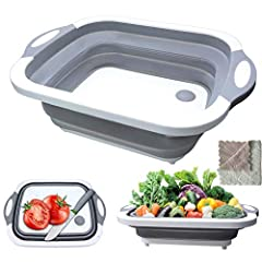 【3 in 1 Multifunction】 First function is that it can be used as a cutting board for vegetables, fruits and meat, the second function is washing dishes or food as a foldable dish tub, finally, it also can be a storage basket for storing kinds of food ...
