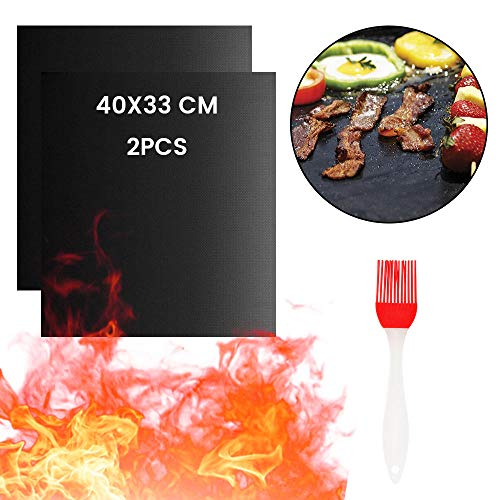 Aexit BBQ Mat, Estera de Barbacoa Barbacoa Mat Reutilizable Estera Antiadherente con Acabado de Teflón para Horno - Rejilla para Parrillas 2/3/4Pcs-2pcs Mat with Brush