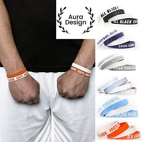 Aura Design Armband für Damen & Herren | Armbänder Sportarmband | Silikonarmband | Fitness Armband | 4 Armbänder (Orange & Weiß)