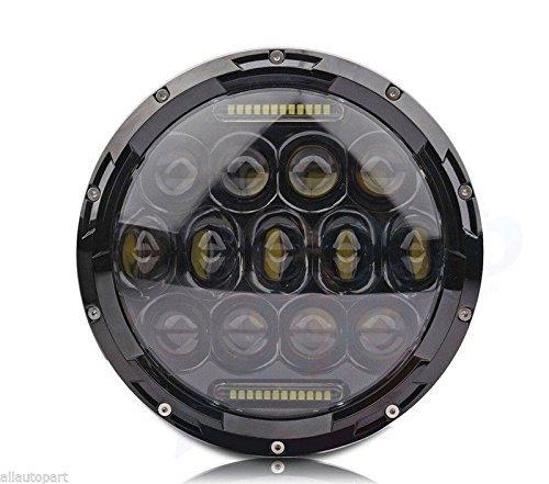 Lampadina a LED rotonda impermeabile per faro Daymaker HID per Harley Davidson e Jeep Wrangler, 17,8cm, 75W.