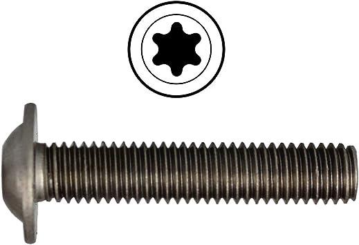 TORX rosca completa acero inoxidable A2 100 tornillos de cabeza lenticular M3 x 3//3 con brida ISO 7380