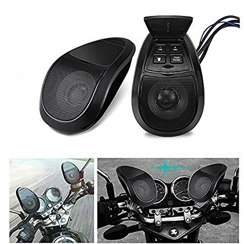 MASO - Altoparlante audio per moto, Bluetooth, lettore musicale MP3, impermeabile, radio FM con luce a LED, 2 pezzi, colore: nero