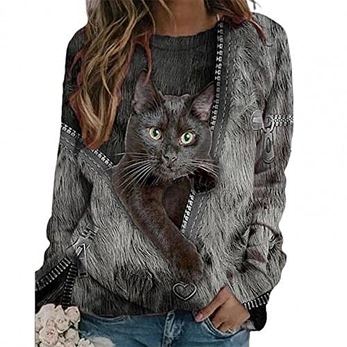 LIMILI Blusa para mujer con cremallera, cuello redondo, manga larga, informal, holgada, talla grande 3 M