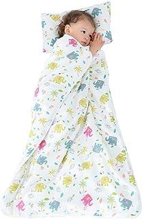 All Season Kids Sleeping Bag - Gauze Muslin Cotton Slumber Bag Quilt 47X35inch - Cartoon Colorful Elephant Wearable Blanke...