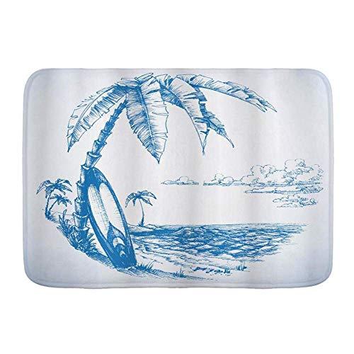 Fußmatten, Surf Zeitgenössische Skizze Illustration Hawaiian Beach mit Surfbrett Palmen und Meerwasser, Küche Boden Bad Teppich Matte Saugfähig Innen Bad Dekor Fußmatte rutschfest