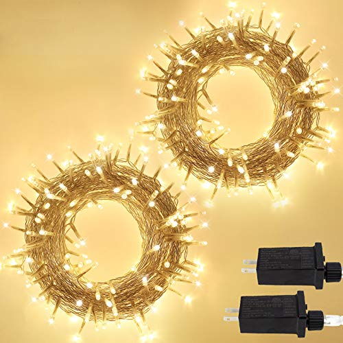 IDEAALS 2-Pack Christmas Tree Lights Clear Wire String Lights Outdoor/Indoor, Total 240 LED Plug in Christmas Lights with 8 Modes, Fairy Lights for Party Wedding Xmas Decoration (Warm White)