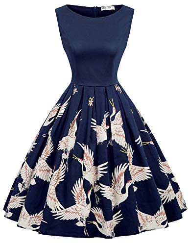 GRACE KARIN Retro Kleid Damen 50s Kleider Knielang v Ausschnitt Kleid Blumen Petticoat Kleid CL992-6 M
