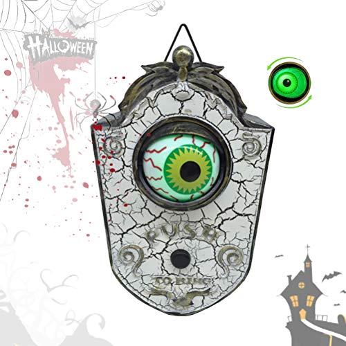 EEX Talking Eyeball Doorbell for Halloween Door Decoration, Animated One-Eyed Halloween Doorbell with Lightup Eyeball, Halloween Party & Haunted House Scary Prop Decoration for Indoor Outdoor (White)