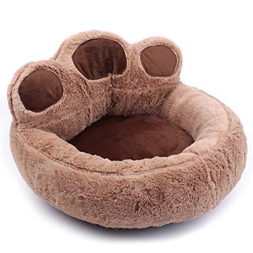 Mahhala 1 x Plüsch-Hundebett in Pfotenform, weich, warm, für Welpen, Kätzchen, Heim, Katzen, Kissen, klein, mittelgroß, groß, Plüsch, braun, Large
