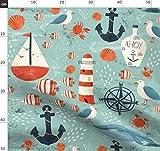 Maritim, Ozean, Meer, Anker, Möwe, Krabbe, Wal Stoffe -