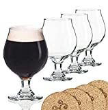 Libbey Beer Glass Belgian Style Stemmed Tulip - 16 oz Lambic Beer Glasses - set of 4 w/ coasters
