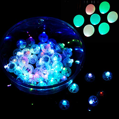 50 Pieces LED Balloons Lights Mini Ball Light Round LED Flash Ball Lamp for Paper Lantern Balloon, Disco, Wedding Party, Birthday Party and Other Party Decoration