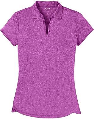 DRI-Equip Ladies Heathered Moisture Wicking Golf Polo-Berry-M