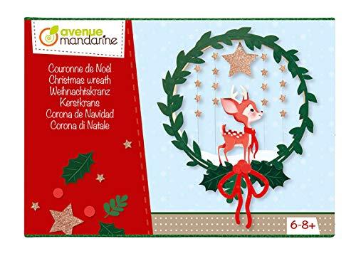 Avenue Mandarine kC061C – eine kreative Schachtel Weihnachtskranz, mit rundem Durchmesser 15 cm, 3 bedruckten Motivbögen und einer Tube Kleber (Anleitung im Lieferumfang enthalten)