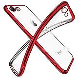 iPhone SE ケース 第2世代 iPhone8 ケース iPhone7 ケース2020年新型 クリア 透明 tpu シリコン メッキ加工 スリム 薄型 4.7インチ スマホケース 耐衝撃 黄変防止 一体型 人気 携帯カバー レッド