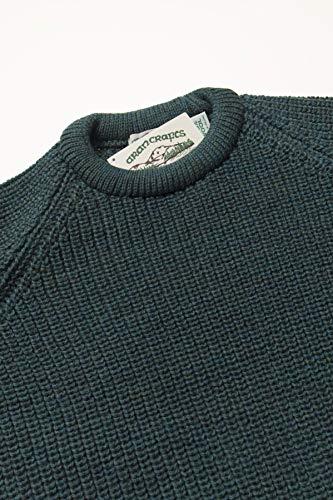 Aran Crafts Men's Fisherman Irish Rib Crew Neck Sweater (100% Pure New Wool)