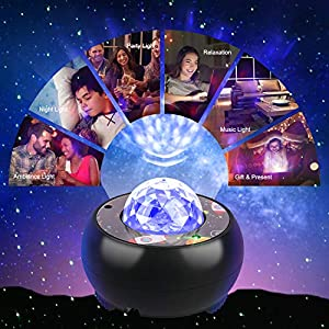 Riarmo Galaxy Star Projector, [2020 Upgraded] Night Light Projector with Music Speaker & Remote Control for Bedroom/Party/Home Decor, Starry Projector with Voice Control and Timer for Adults