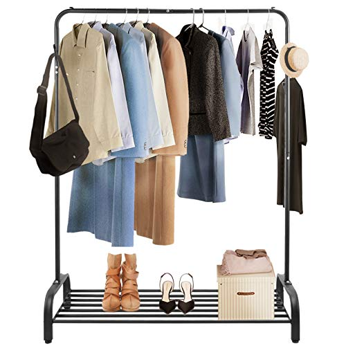 Voilamart Heavy Duty Metal Clothes Rail Stand with Lower Storage Shelf for Shoes Boxes Free Standing Garment Stand Clothing Rail Coat Rack with Hooks for Bags