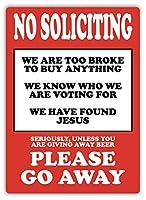 No Soliciting Please Go Away 金属板ブリキ看板警告サイン注意サイン表示パネル情報サイン金属安全サイン