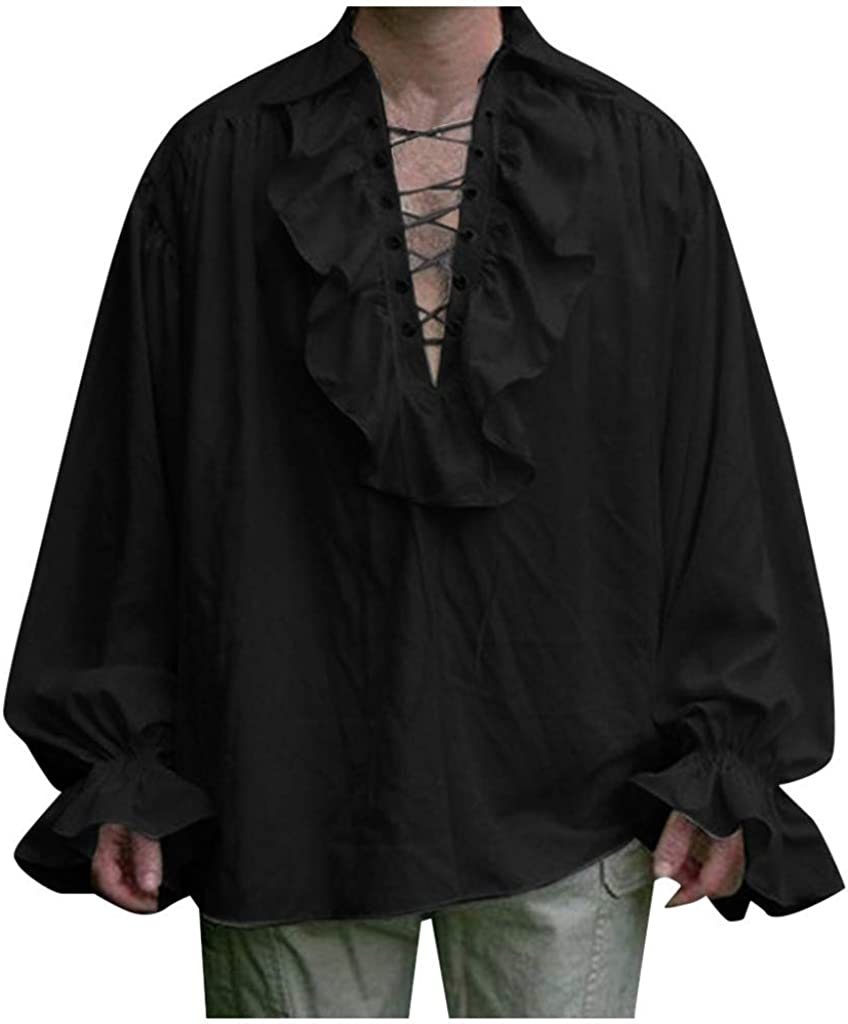 Men Pirate Medieval Shirts Long NEW before selling Sleeve Ruffled Goth Neck Ranking TOP16 V Mens