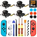 Joycon Joystick Replacement, (4 Pack) Switch Analog Stick Parts for Nintendo Switch Joy Con, Controller Repair Kit Include 4 Thumb 3D Sticks,2 Metal Buckles,2 Screwdriver,Pry Tools,6 Thumbstick Grips by Antimbee Tech