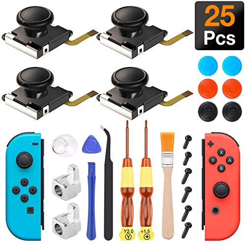 Antimbee (4 Pack) Joystick Replacement for Joycon, Switch Analog Stick Parts for Nintendo Switch Joy Con, Controller Repair Kit Include 4 Thumb 3D Sticks,2 Metal Buckles,Pry Tools,6 Thumbstick Grips