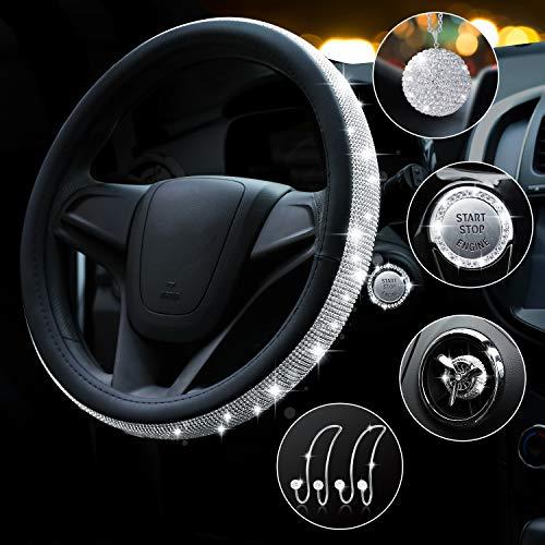 Bling Diamond funda para volante para mujer, universal, 15 pulgadas, 6 unidades de accesorios de coche con 2 ganchos para reposacabezas...