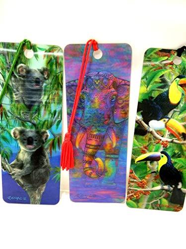 Catwalk, set di 3 segnalibri 3D (koala, elefante, Toucan), 15 x 5,5 cm