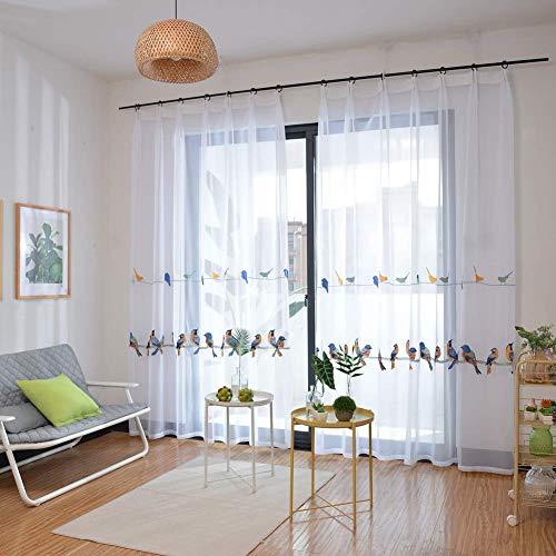 Cortinas bordadas de gasa de lino, gancho para ventana para oscurecer el dormitorio, paneles aislados térmicos -93644W8N0L (color: blanco, tamaño: 400 x 270 cm)