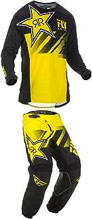 Fly Racing 2019 Kinetic Rockstar Jersey and Pants Combo Yellow/Black Large,32