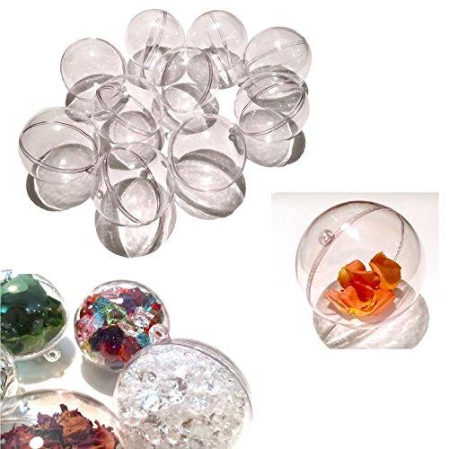CRYSTAL KING Lot de 10 boules de Noël transparentes en acrylique de 7 cm de diamètre - Boules de décoration à suspendre transparentes - Pour sapin de Noël - Boules de Noël - Divisible à remplir
