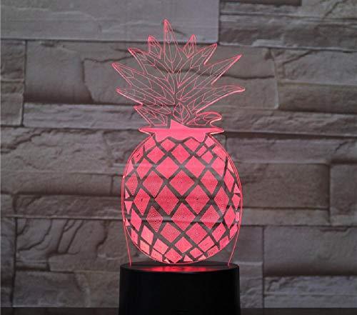 Ananas Nachtlampje, meerdere kleuren, 3D-optische illusie, lamp voor slaapkamer, bureau, nachtlampje, tafeldecoratie, afstandsbediening, bluetooth-besturingskleur