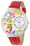 Whimsical Watches Preschool Teacher Red Leather and Silvertone Unisex Quartz Watch with White Dial Analogue Display and Multicolour Leather Strap U-0640003