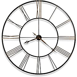 Howard Miller Postema Gallery Wall Clock 625-406 – Oversized Round Wrought-Iron with Quartz Movement