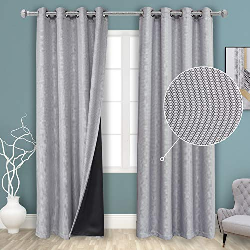 BONZER 100% Blackout Curtains for Bedroom Cross Grid Textured Grommet Thermal Insulated Light Blocking Lined Curtain Panels for Living Room, 50 x 84 Inch, Silver, Set of 2 Panels