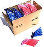 100 Box Combo of Blue and Pink Razor Blades Disposable Stainless Steel Hospitality Quality Shavers High End Twin Blade Razors for Men and Women with Aloe Vera Lubrication Strip
