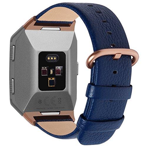 Fullmosa Compatible avec Bracelet Fitbit Ionic Bande Véritable Bracelet Remplacement Accessoire pour Homme Femme Watchbands, Bleu Foncé
