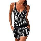 Femme Maillot De Bain 2 PièCes Dots Bikini Vintage Tankini Retro Bikini, Women Tankini Swimsuit Bikini Beachwear Swimwear Bathingsuit Padded Push Up Plus (L, Noir)